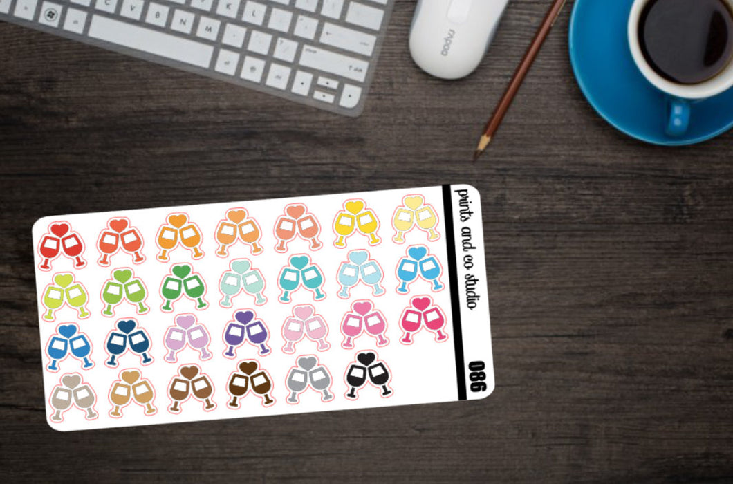 wine glasses planner stickers