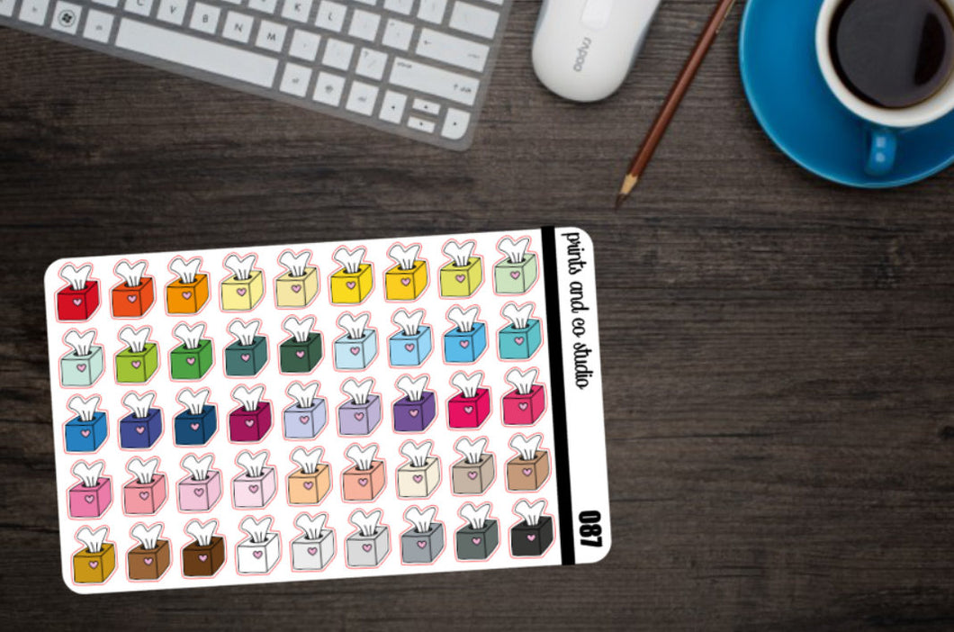 tissue box planner stickers