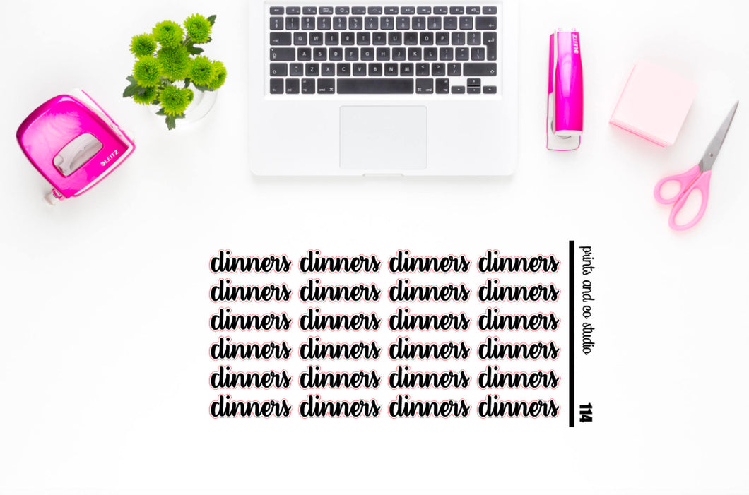dinners script planner stickers (S114)