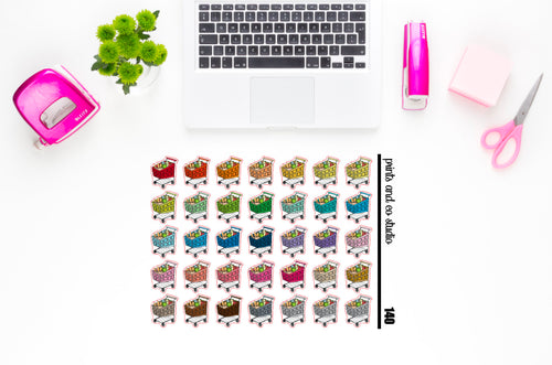 grocery cart planner stickers (S140)