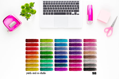 glitter paint swatches planner stickers (S166)