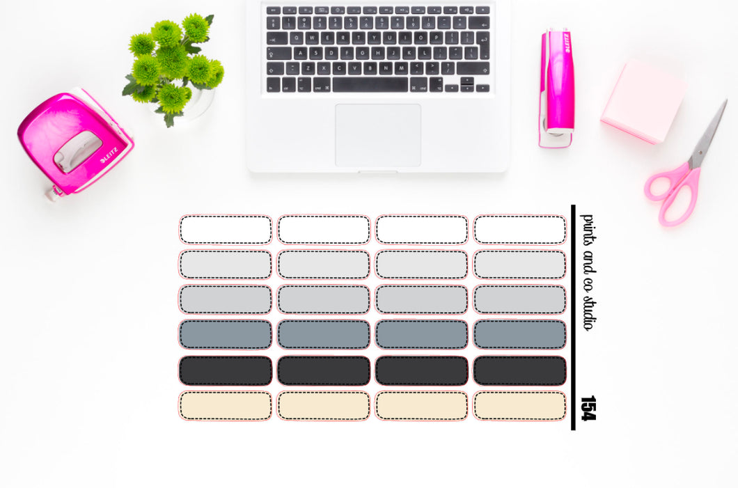 neutral dashed quarter boxes planner stickers (S154)