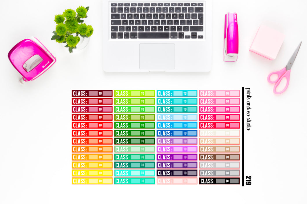 colorful class times header planner stickers (S219)