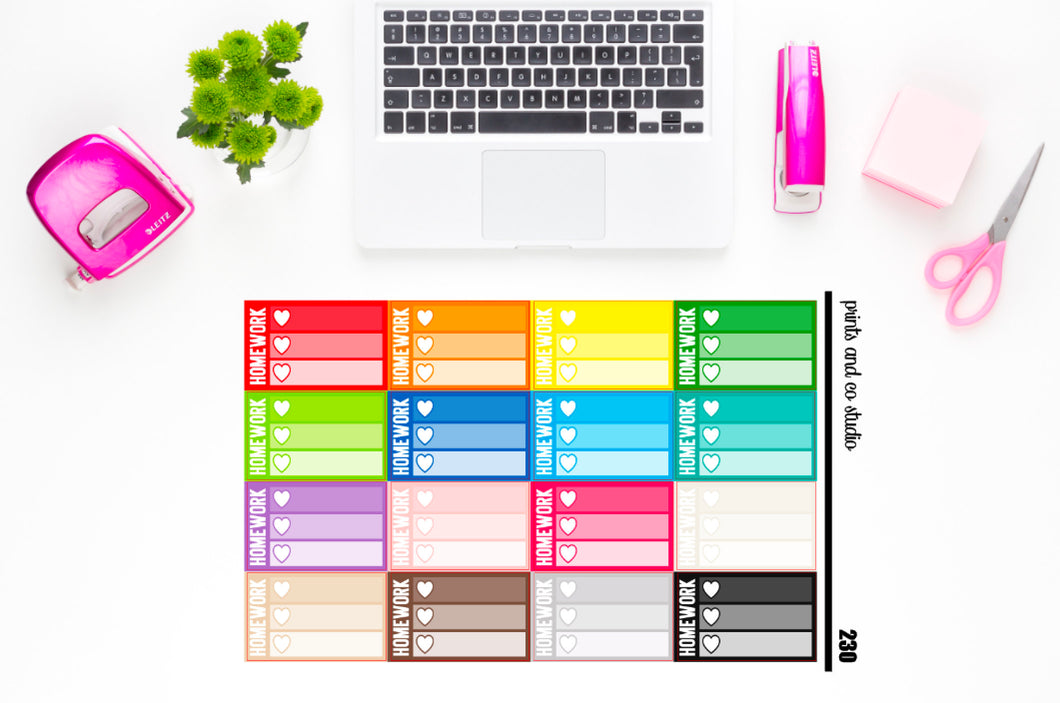 ombre triple heart homework checklist planner stickers (S230)