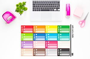 ombre triple heart to watch checklist planner stickers (S231)