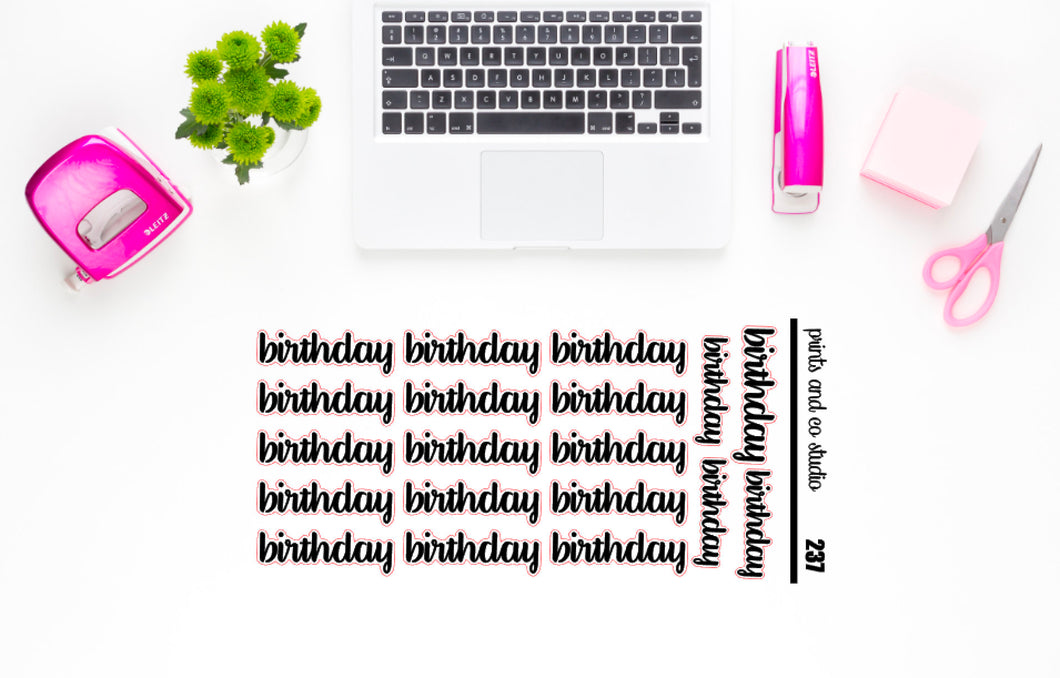 birthday script planner stickers (S237)