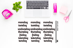 days of the week script planner stickers (S215)