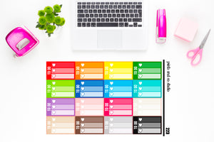 ombre triple heart to do checklist planner stickers (S223)