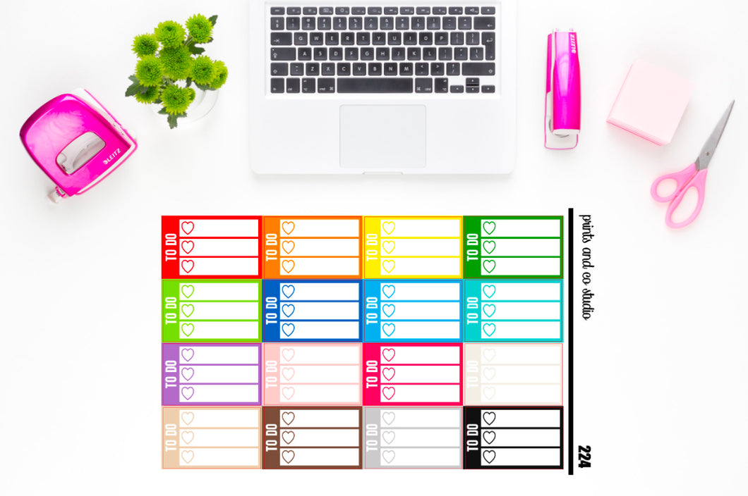 white triple heart to do checklist planner stickers (S223)