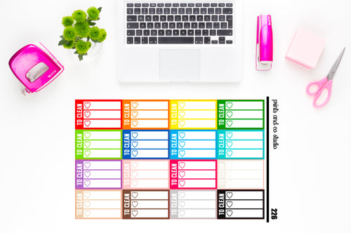 white triple heart to clean checklist planner stickers (S226)