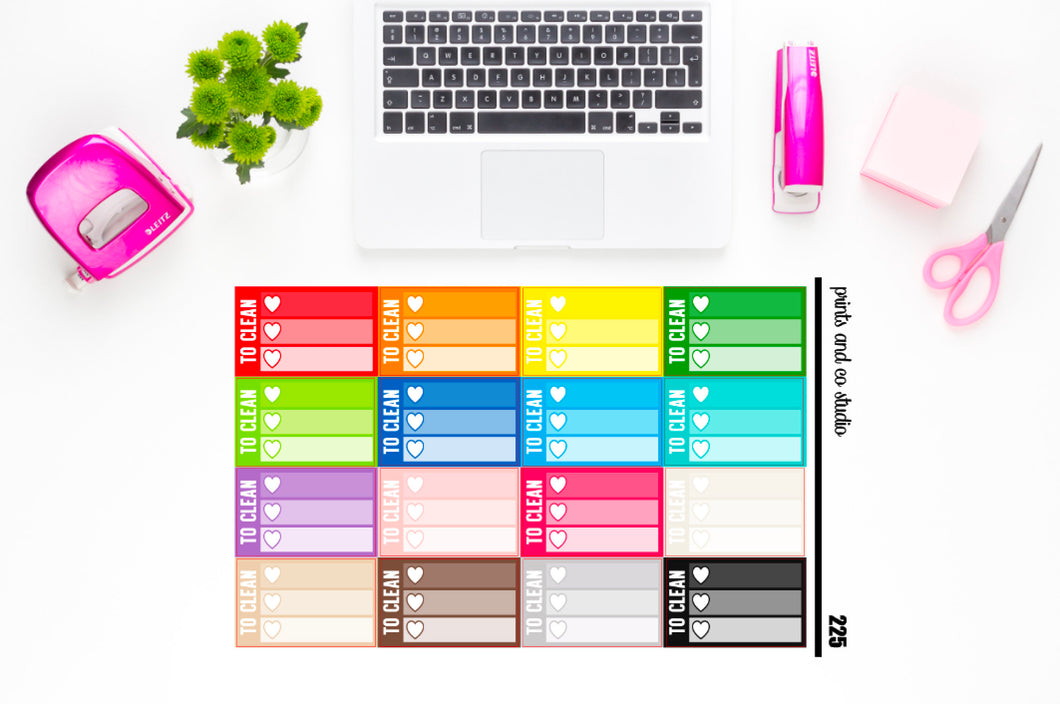 ombre triple heart to clean checklist planner stickers (S225)