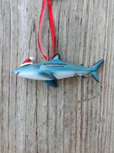SHARK WITH SANTA HAT ORNAMENT