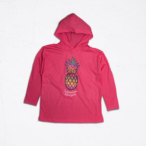 Ladies Colorful Pineapple Pink Hoodie