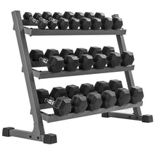 Rubber Hex 5-50 lb Dumbbell Set with 1 Rack