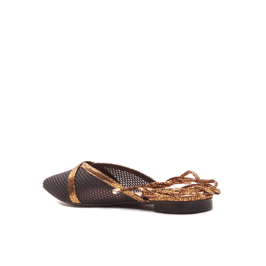 Flat Metallized Old Gold Cecconello 1499001-1 - [product_category] Cecconello Shoes