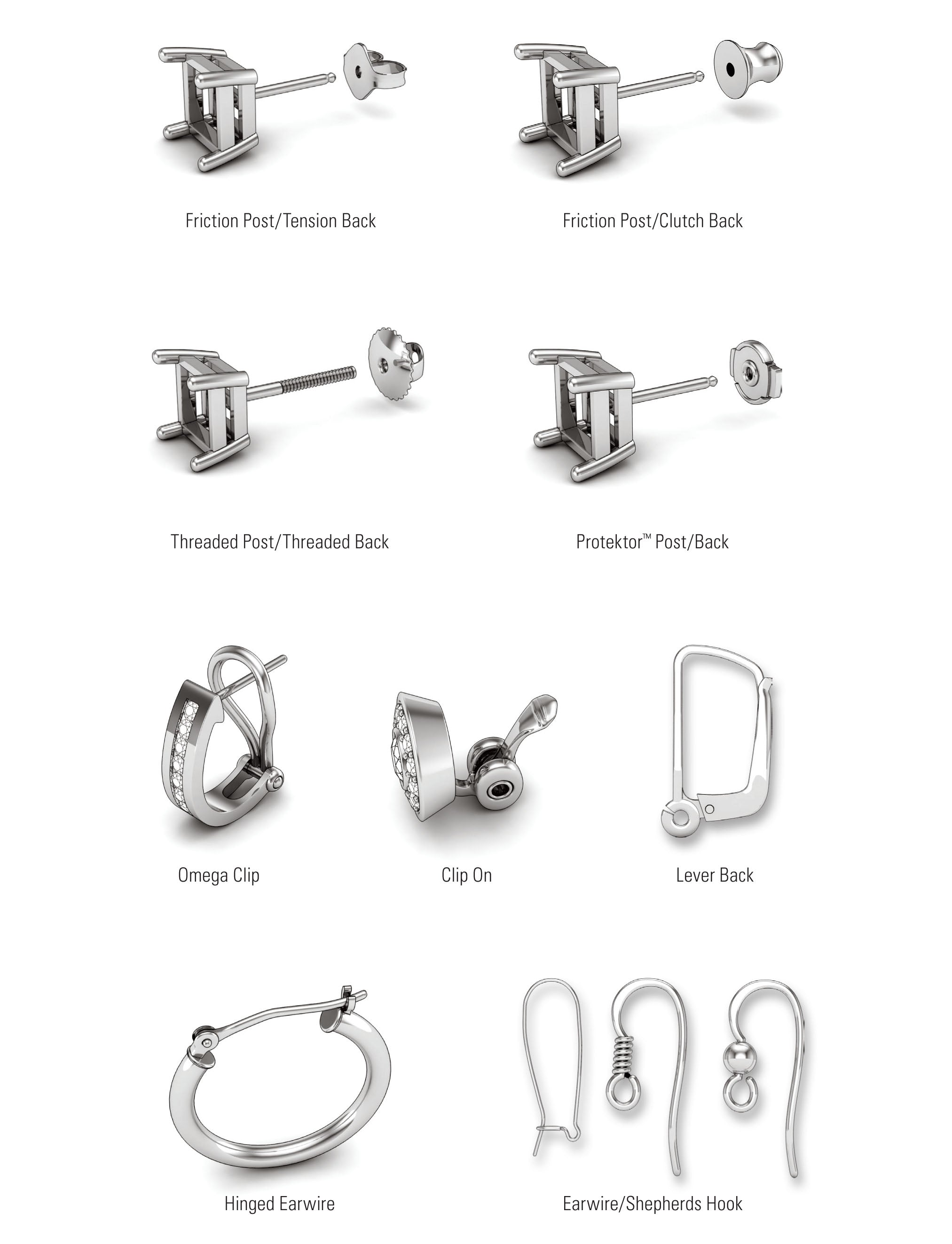 Types of Earring Backs at The Black Bow Jewelry Company include tension back, clutch back, threaded back, post back, omega clip, clip ons, lever back, hinged, earwire, shepards hook and french wires.