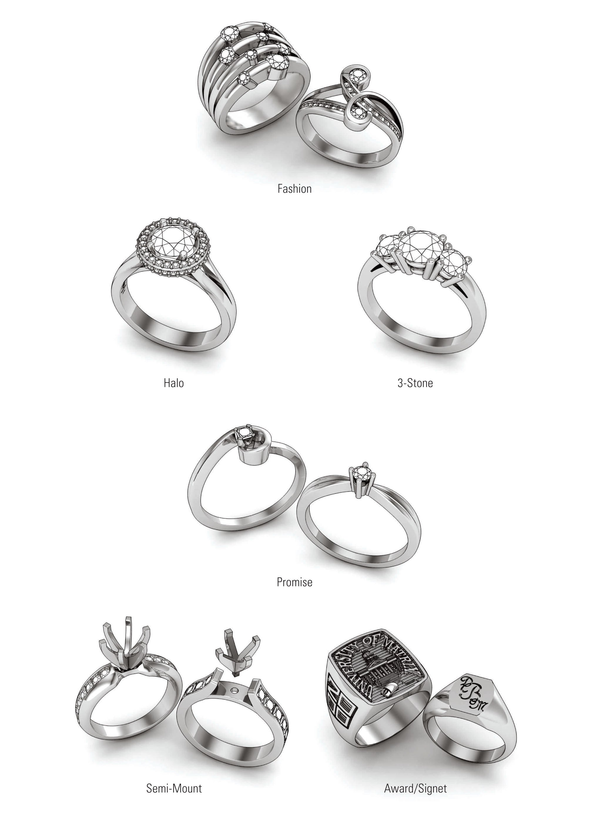 Types of rings, fashion rings, halo rings, 3-stone rings, promise rings, semi-mount rings, award rings and signet rings.