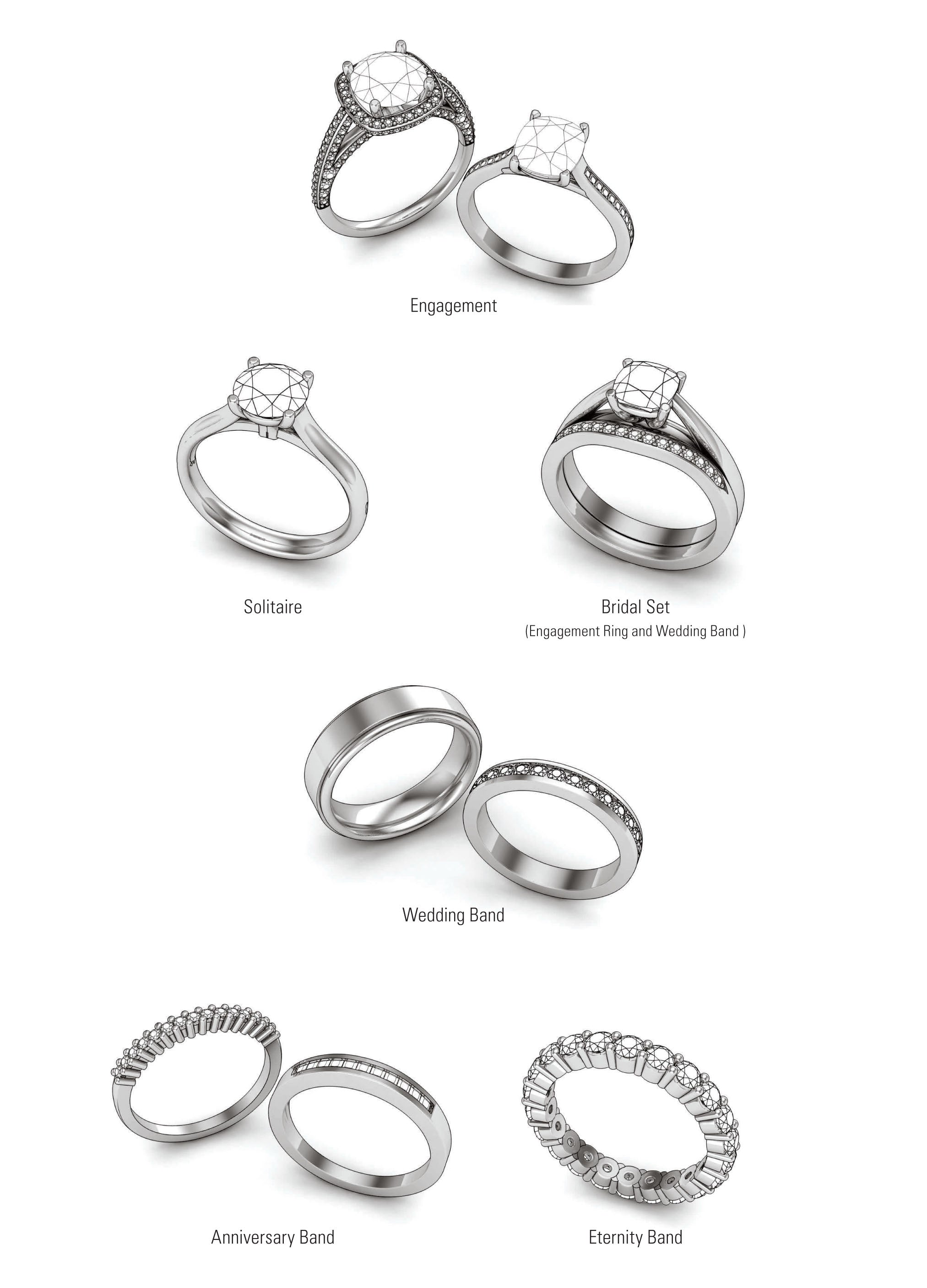 Types of rings include engagement rings, solitaire rings, bridal sets, wedding bands, anniversary bands and eternity bands.