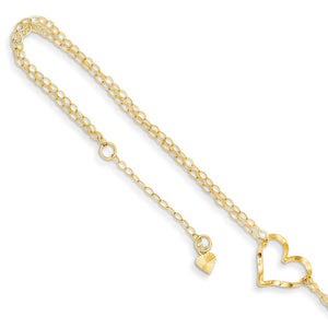 14k Yellow Gold Open Heart Double Strand Anklet, 9-10 Inch - The Black Bow Jewelry Co.