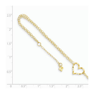 Alternate view of the 14k Yellow Gold Open Heart Double Strand Anklet, 9-10 Inch by The Black Bow Jewelry Co.