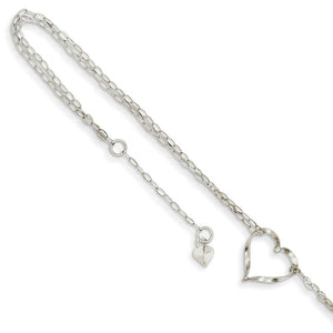 14k White Gold Open Heart Double Strand Anklet, 9-10 Inch - The Black Bow Jewelry Co.