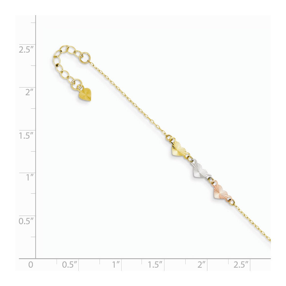 Alternate view of the 14k Tri Color Gold Adjustable Heart Anklet, 9 Inch by The Black Bow Jewelry Co.