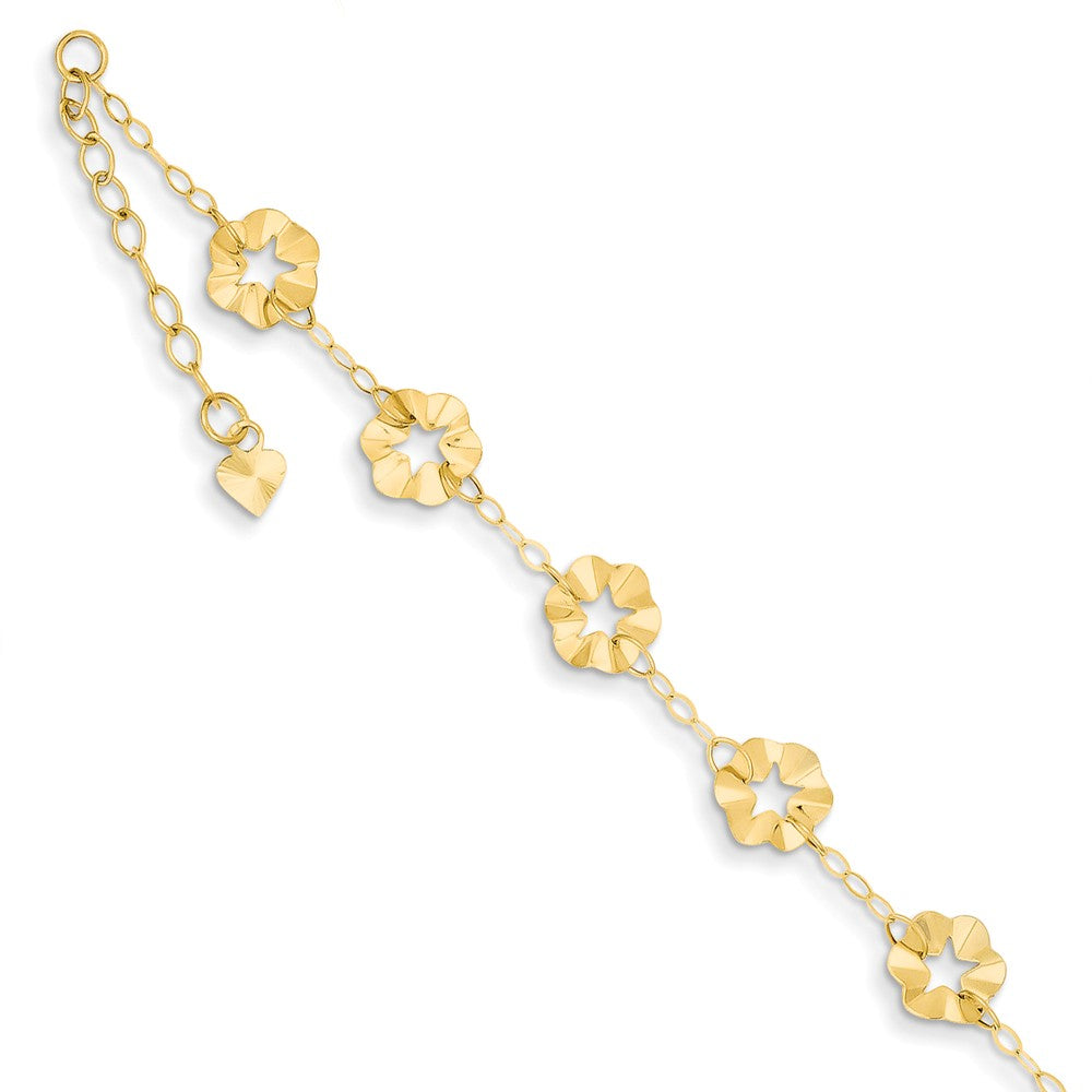 14k Yellow Gold Adjustable Flower Anklet, 9 Inch, Item A8024 by The Black Bow Jewelry Co.
