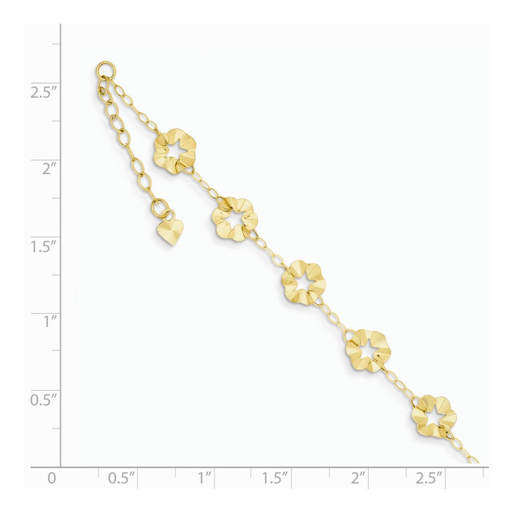 Alternate view of the 14k Yellow Gold Adjustable Flower Anklet, 9 Inch by The Black Bow Jewelry Co.