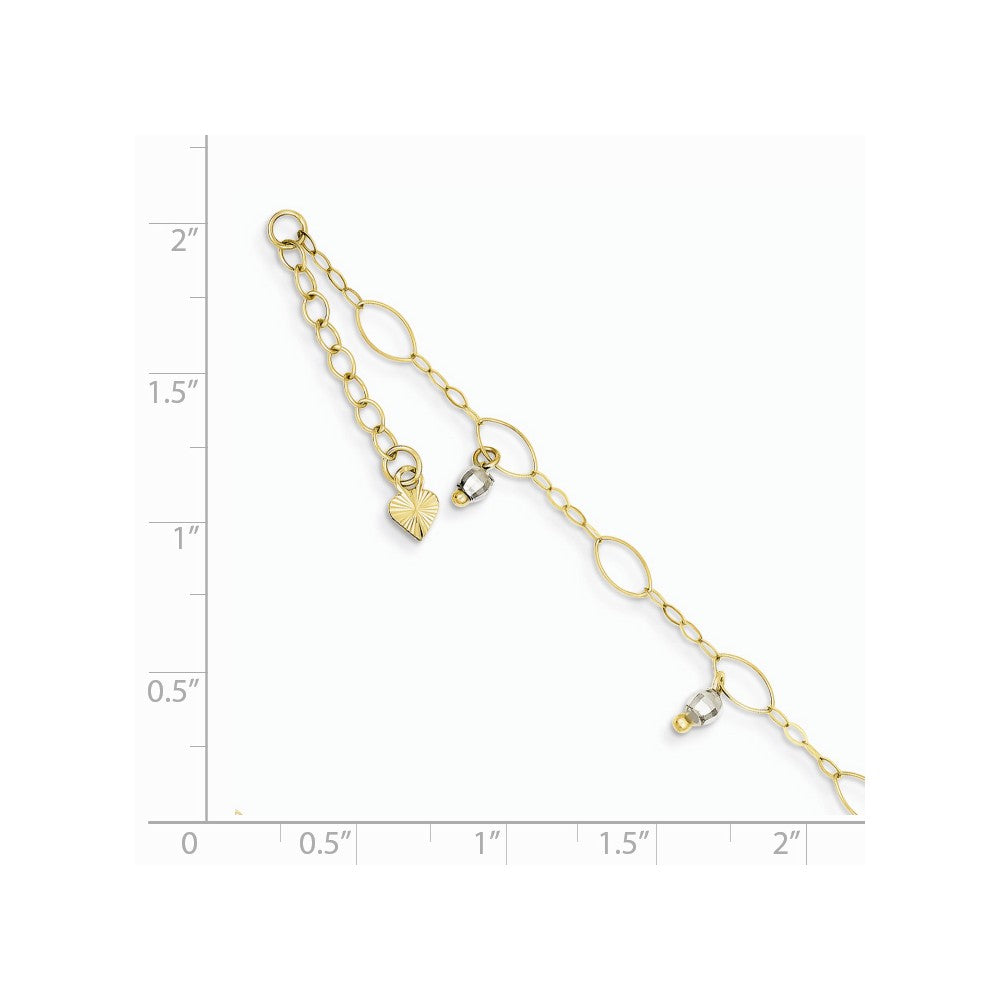Alternate view of the 14k Two Toned Gold Dangling Bead Anklet, 9 Inch by The Black Bow Jewelry Co.