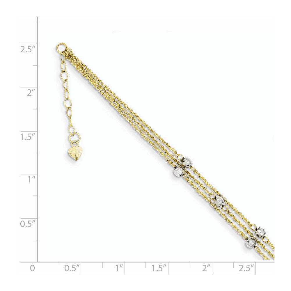 Alternate view of the 14k Two Tone Gold Triple Strand Beaded Anklet, 9 Inch by The Black Bow Jewelry Co.