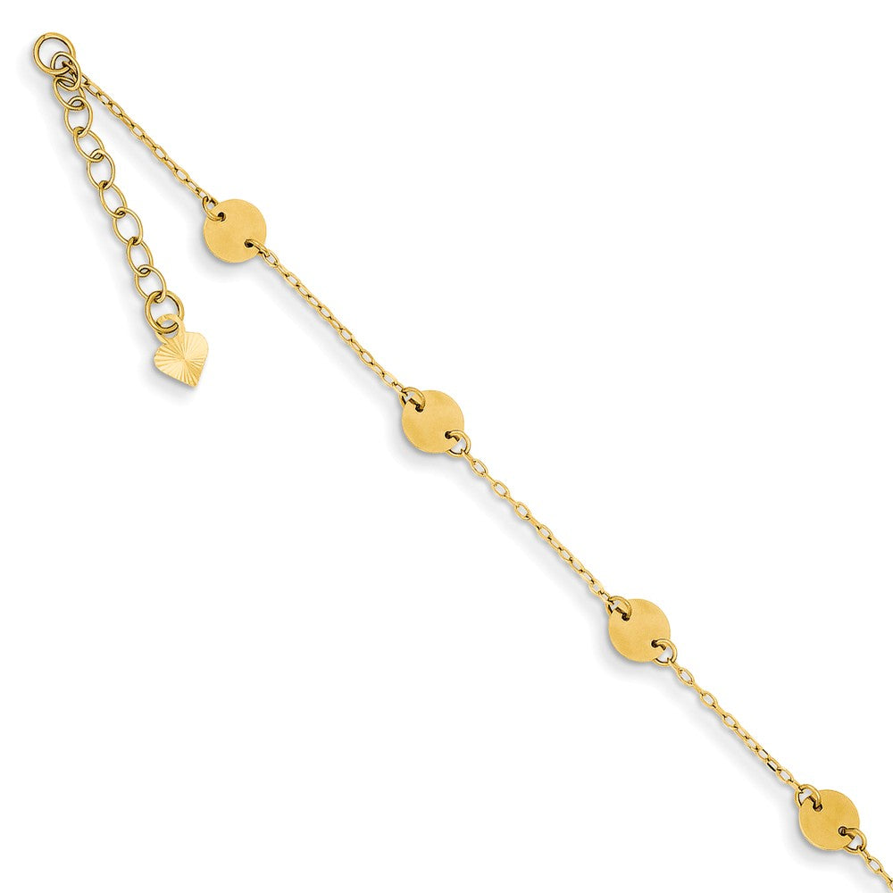 14k Yellow Gold Polished Disc Anklet, 9 Inch, Item A8037 by The Black Bow Jewelry Co.