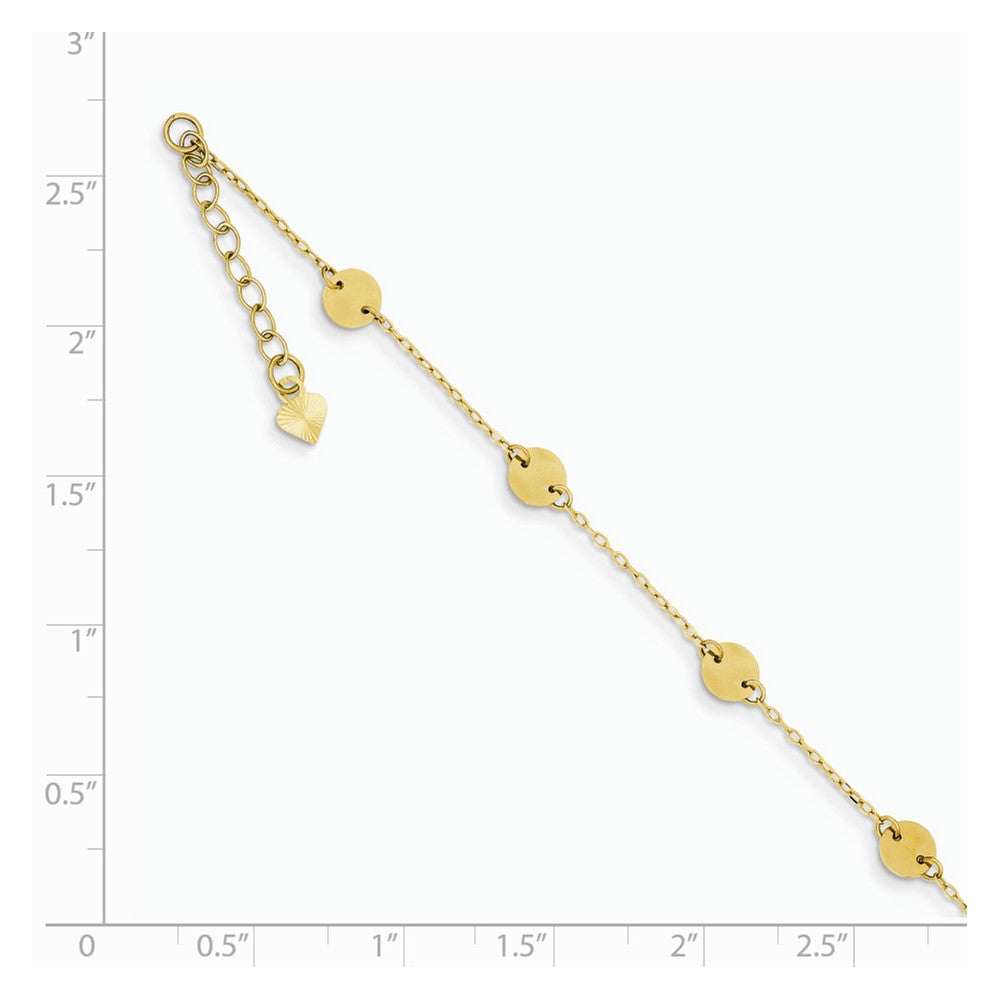Alternate view of the 14k Yellow Gold Polished Disc Anklet, 9 Inch by The Black Bow Jewelry Co.