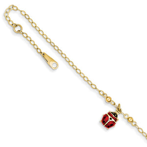 14k Yellow Gold Enameled Ladybug Anklet, 9-10 Inch - The Black Bow Jewelry Co.