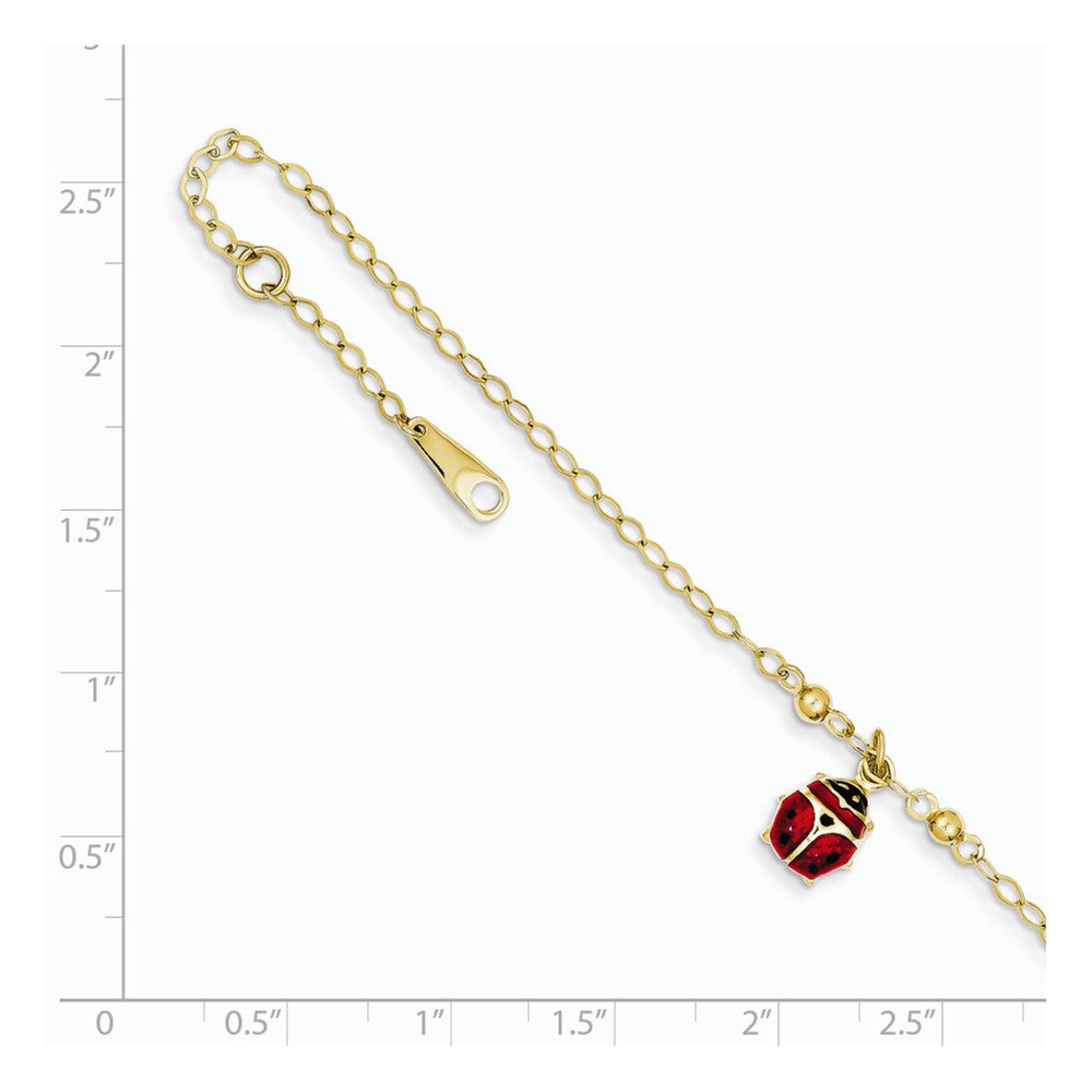 Alternate view of the 14k Yellow Gold Enameled Ladybug Anklet, 9-10 Inch by The Black Bow Jewelry Co.