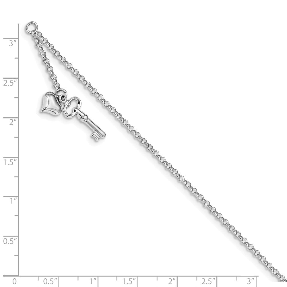 Alternate view of the 14k White Gold Puffed Heart And Key Dangle Anklet, 10 Inch by The Black Bow Jewelry Co.