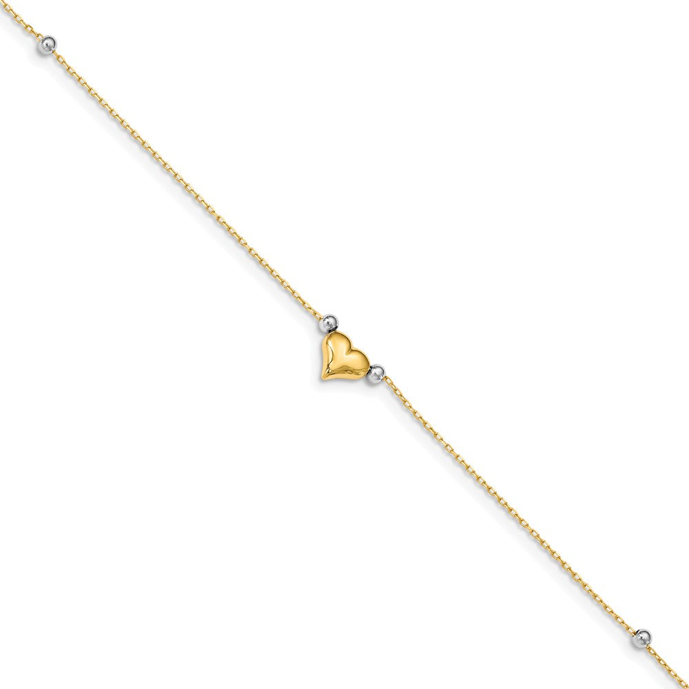 14k Yellow and White Gold Puffed Heart and Bead Anklet, 10 Inch, Item A8052 by The Black Bow Jewelry Co.
