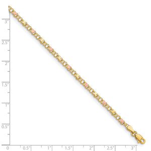 Alternate view of the 14k Yellow Gold And Pink Rhodium Kisses and Hearts Anklet, 10 Inch by The Black Bow Jewelry Co.