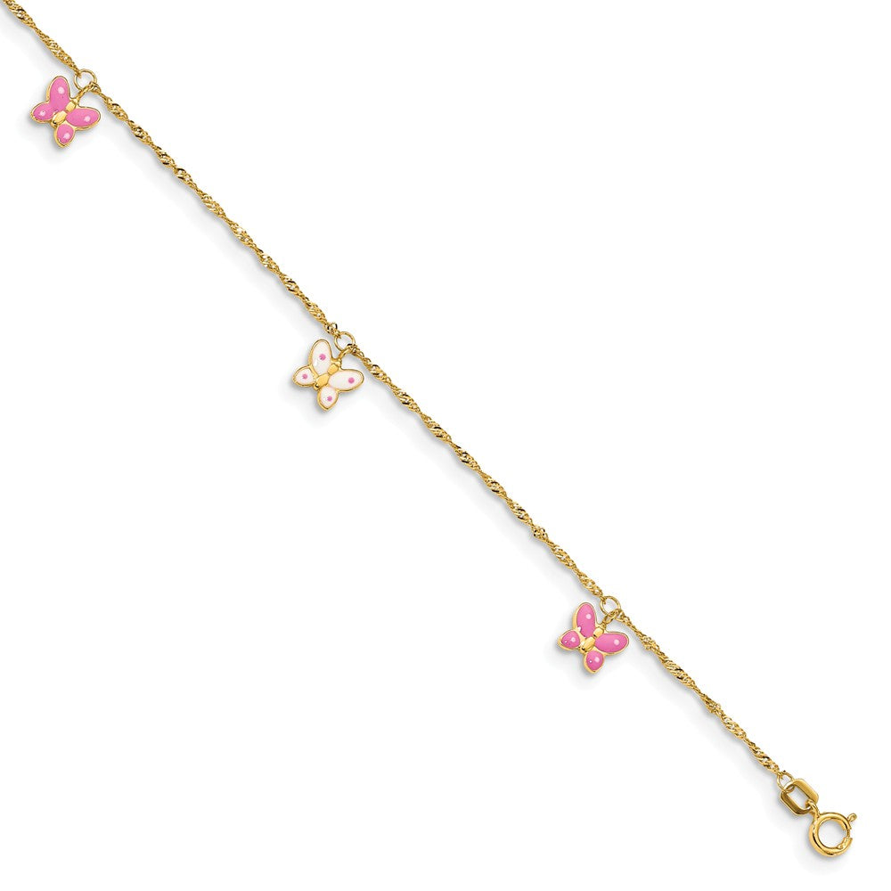 14k Yellow Gold and Enameled Butterfly Adjustable Anklet, 10 Inch, Item A8060 by The Black Bow Jewelry Co.