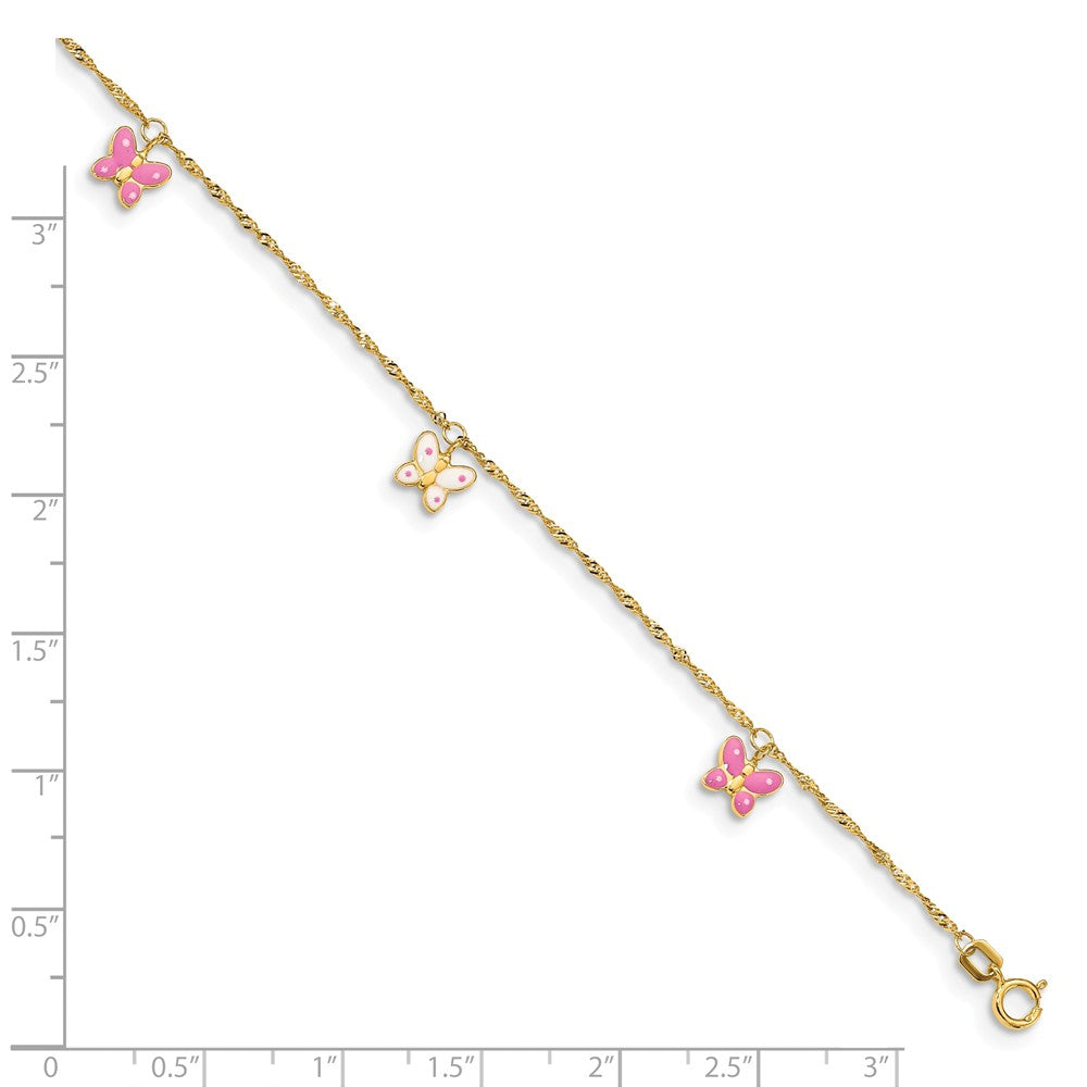 Alternate view of the 14k Yellow Gold and Enameled Butterfly Adjustable Anklet, 10 Inch by The Black Bow Jewelry Co.