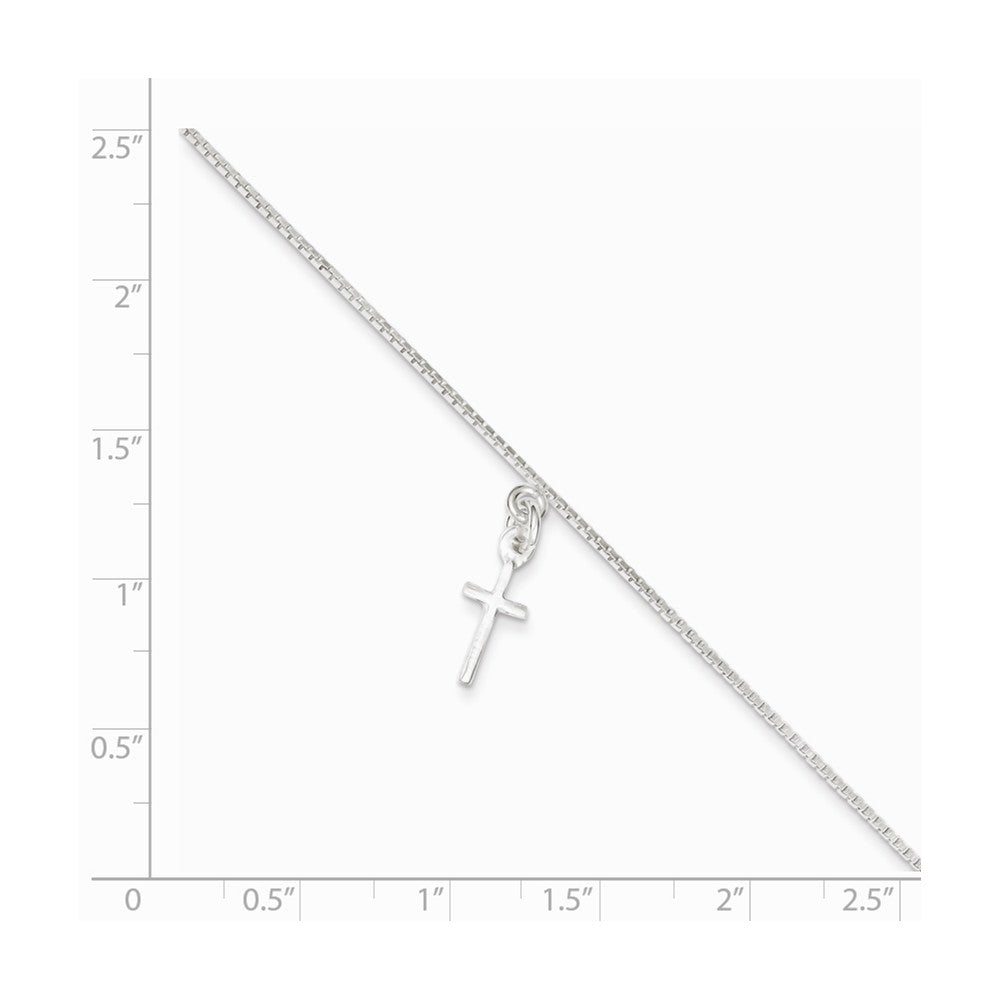Alternate view of the Sterling Silver Cross Anklet, 9 Inch by The Black Bow Jewelry Co.