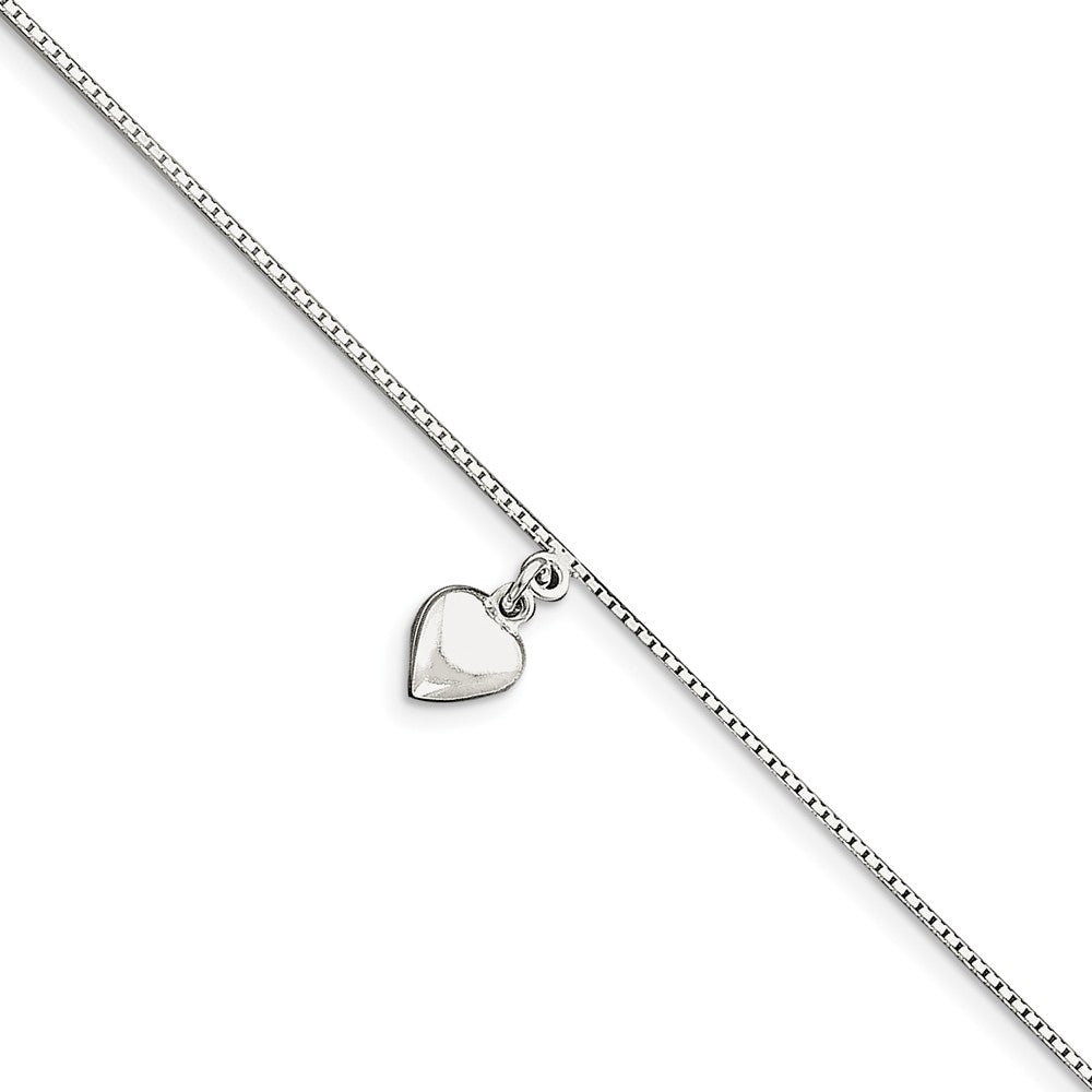 Sterling Silver Puffed Heart Anklet, 10 Inch, Item A8074-10 by The Black Bow Jewelry Co.