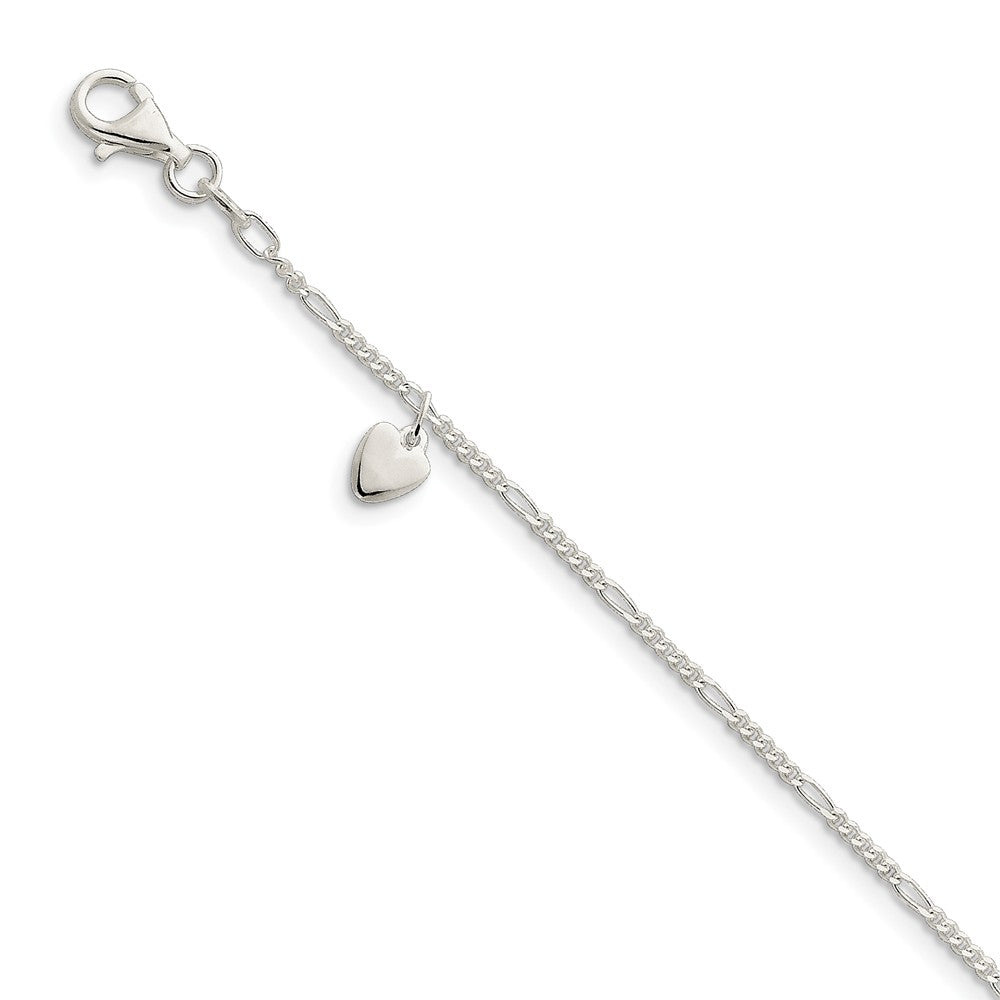 Sterling Silver Dangling Heart Anklet - The Black Bow Jewelry Co.