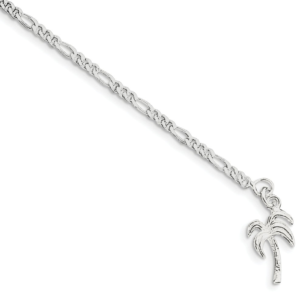 Sterling Silver Palm Tree Anklet - The Black Bow Jewelry Co.