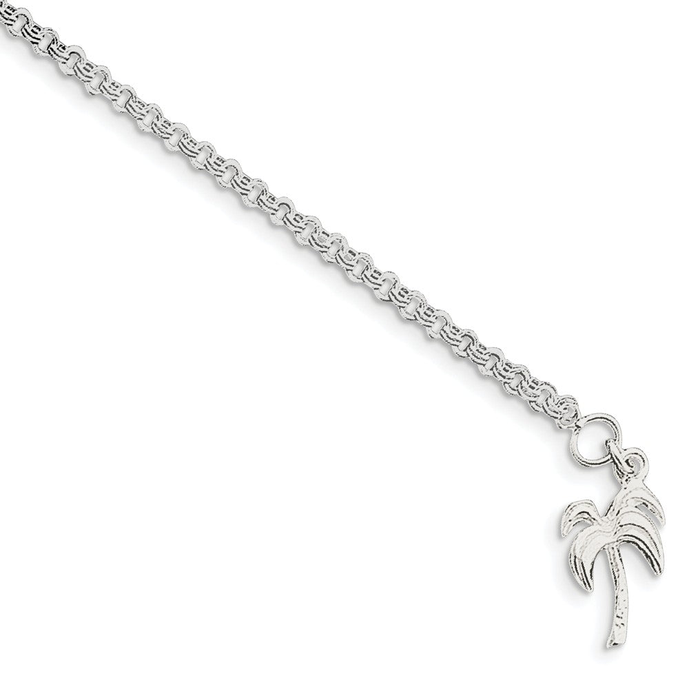 Sterling Silver Palm Tree Double Link Cable Chain Anklet