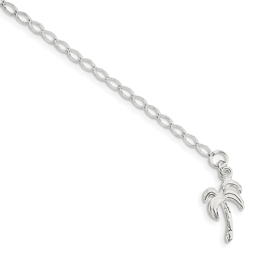 Sterling Silver Palm Tree Open Link Anklet - The Black Bow Jewelry Co.