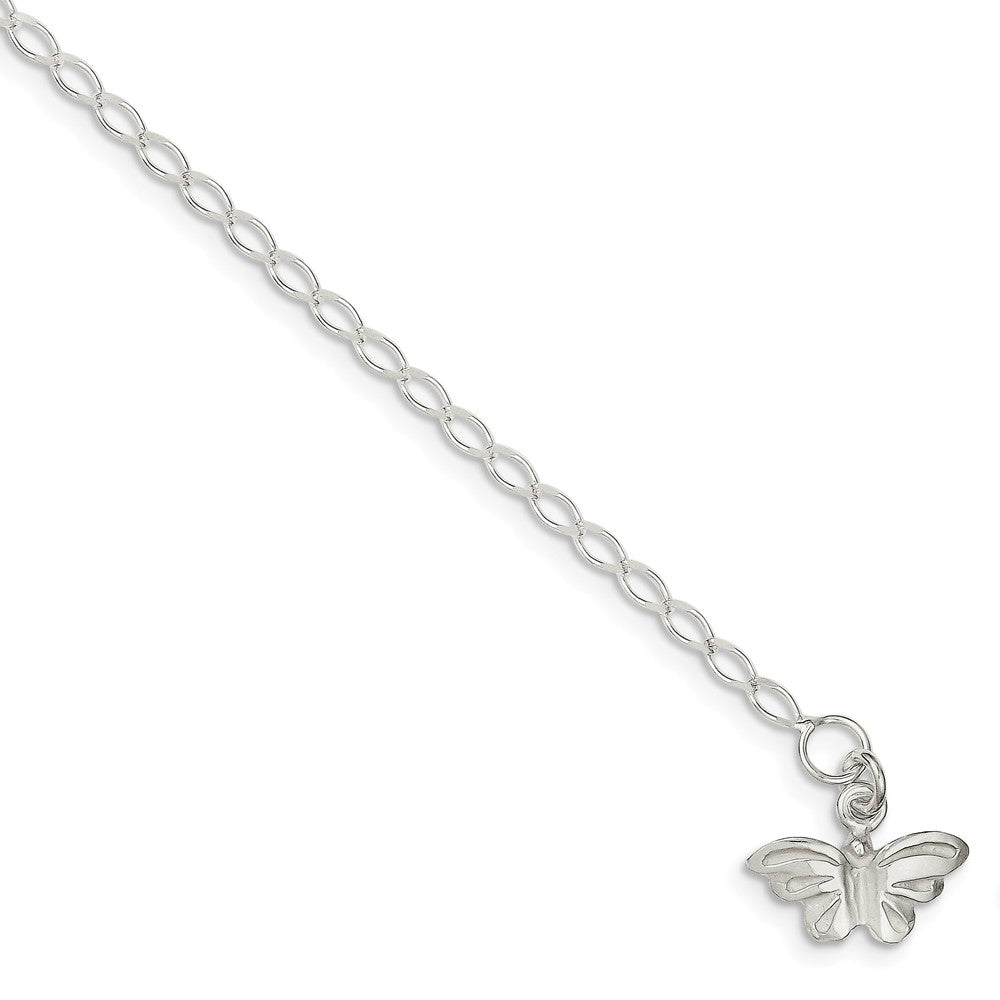 Sterling Silver Butterfly Open Link Anklet, 10 Inch, Item A8120-10 by The Black Bow Jewelry Co.