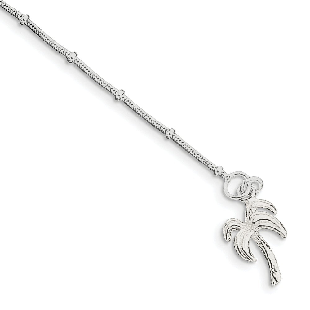 Sterling Silver Palm Tree Charm Beaded Snake Chain Anklet