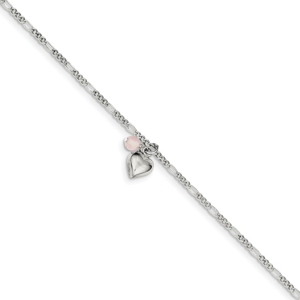 Sterling Silver Cherry Quartz, Puffed Heart Anklet - The Black Bow Jewelry Co.