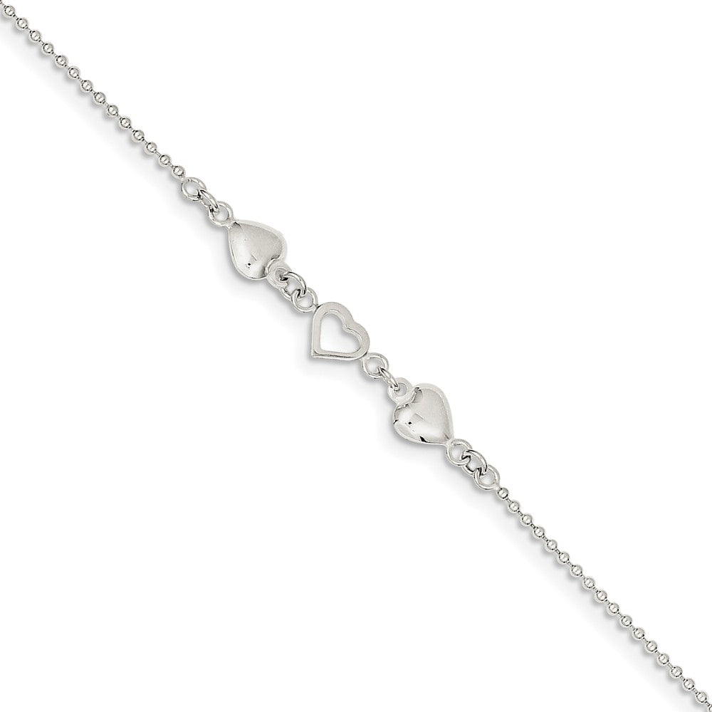 Sterling Silver Polished Hearts Anklet, 9-10 Inch, Item A8197-10 by The Black Bow Jewelry Co.