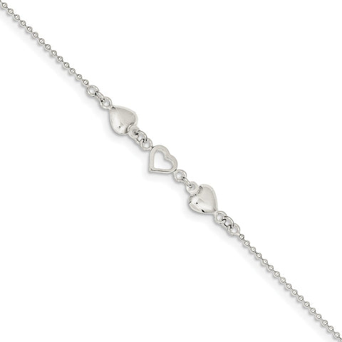 Sterling Silver Jewelry Themed Anklets Adjustable 10inch Polished Puffed Heart Anklet